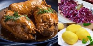 Zwei hausgemachte Rinderrouladen / Rotkohl / Salzkartoffeln